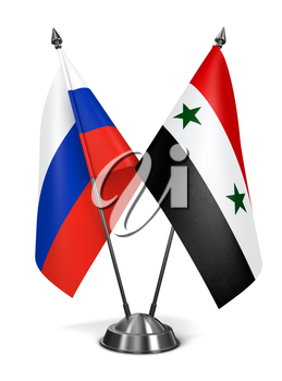 Russia and Syria - Miniature Flags Isolated on White Background.