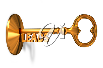 Leads - Golden Key is Inserted into the Keyhole Isolated on White Background