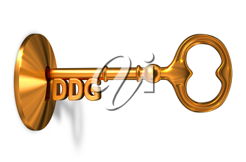 DDG - Golden Key is Inserted into the Keyhole Isolated on White Background