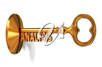 Analysis - Golden Key is Inserted into the Keyhole Isolated on White Background