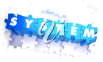 System - Word in Blue Color on Volume  Puzzle. 3D Illustration.