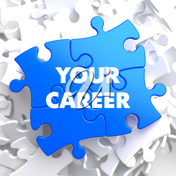 Your Career on Blue Puzzle on White Background.