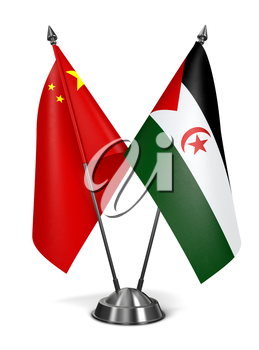 China and Sahrawi Arab Democratic Republic - Miniature Flags Isolated on White Background.