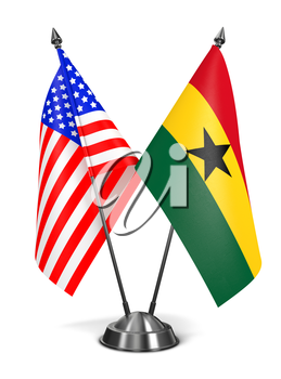 USA and Ghana - Miniature Flags Isolated on White Background.
