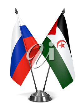 Russia and Sahrawi Arab Democratic Republic - Miniature Flags Isolated on White Background.