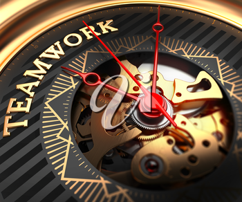 Teamwork on Black-Golden Watch Face with Watch Mechanism. Full Frame Closeup.