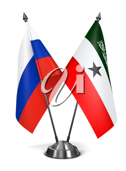 Russia and Somaliland - Miniature Flags Isolated on White Background.