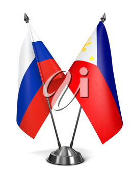 Russia and Philippines - Miniature Flags Isolated on White Background.