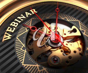 Webinar on Black-Golden Watch Face with Closeup View of Watch Mechanism.