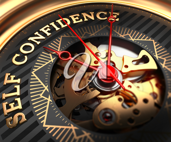 Self Confidence on Black-Golden Watch Face with Closeup View of Watch Mechanism.
