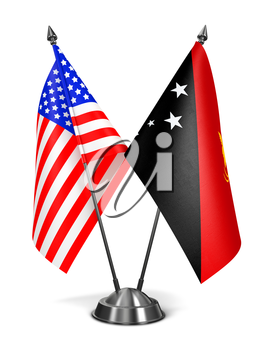 USA and Papua New Guinea - Miniature Flags Isolated on White Background.