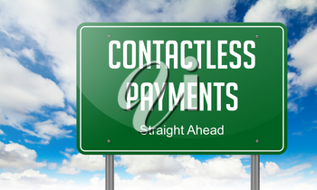 Contactless Payments - Highway Signpost on Sky Background.