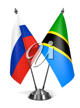 Russia and Tanzania - Miniature Flags Isolated on White Background.