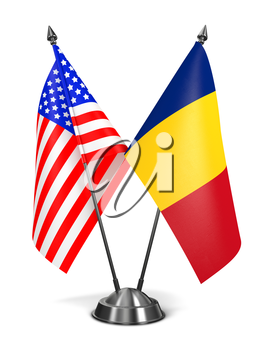 USA and Romania - Miniature Flags Isolated on White Background.