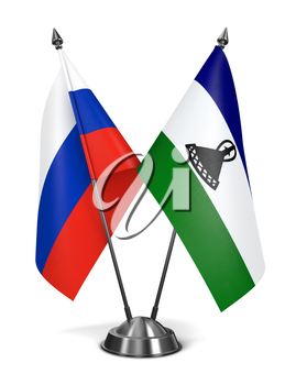 Russia and Lesotho - Miniature Flags Isolated on White Background.