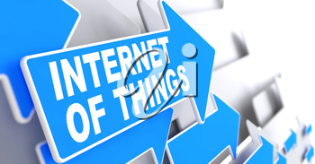 Internet of Things Direction Sign - Blue Arrow on a Grey Background.