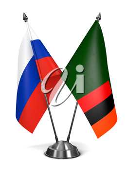 Russia and Zambia - Miniature Flags Isolated on White Background.