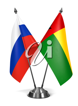 Russia and Guinea-Bissau of Miniature Flags Isolated on White Background.