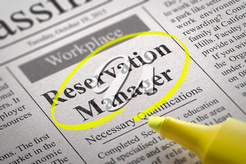 Reservation Manager Jobs in Newspaper. Job Search Concept.