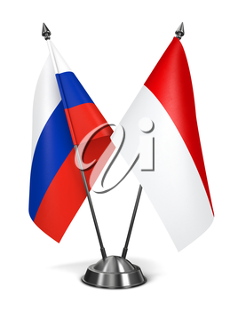 Russia and Monaco - Miniature Flags Isolated on White Background.