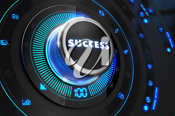 Success Button with Glowing Blue Lights on Black Console.