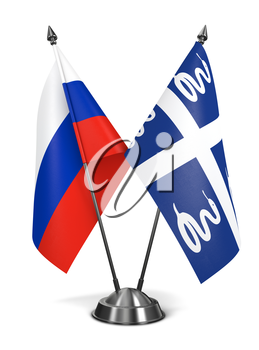 Royalty Free Clipart Image of Russia and Martinique Miniature Flags