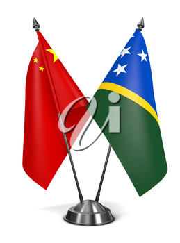 Royalty Free Clipart Image of China and Solomon Islands Miniature Flags