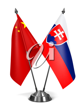 Royalty Free Clipart Image of China and Slovakia Miniature Flags