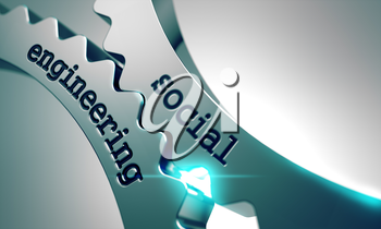 Royalty Free Clipart Image of Social Engineering Text on Gears