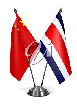 Royalty Free Clipart Image of China and Costa Rica Miniature Flags