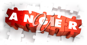 Royalty Free Clipart Image of Anger Text on Puzzle Pieces
