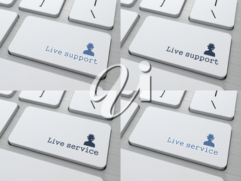 Royalty Free Clipart Image of Live Support and Service Computer Keyboard Buttons