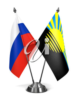 Royalty Free Clipart Image of Russia and Donetsk Miniature Flags