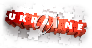 Royalty Free Clipart Image of Ukraine Text on Puzzle Pieces