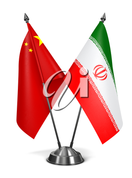 China and Iran - Miniature Flags Isolated on White Background.