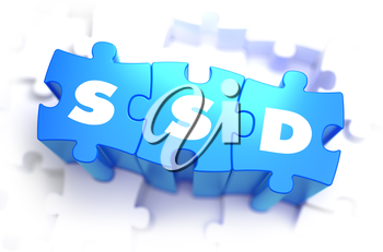 SSD - White Word on Blue Puzzles on White Background. 3D Render.