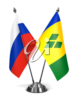 Russia, Saint Vincent and Grenadines - Miniature Flags Isolated on White Background.