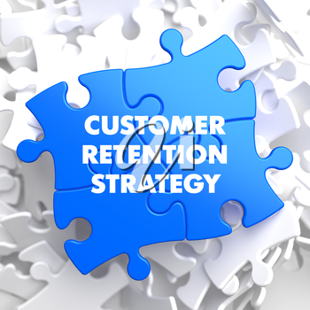 Customer Retention Strategy on Blue Puzzle on White Background.