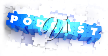 Podcast - Text on Blue Puzzles on White Background. 3D Render.