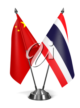 China and Thailand - Miniature Flags Isolated on White Background.