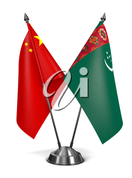 China and Turkmenistan - Miniature Flags Isolated on White Background.
