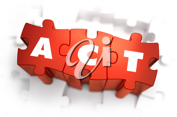 Act - White Word on Red Puzzles on White Background. 3D Illustration.