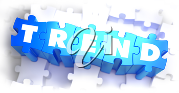 Trend - White Word on Blue Puzzles on White Background. 3D Illustration.