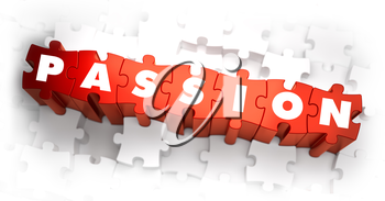 Passion - White Word on Red Puzzles on White Background. 3D Render.