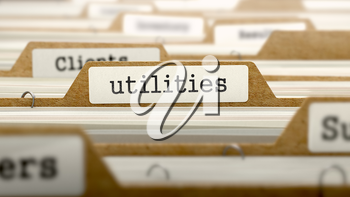 Utilities Concept. Word on Folder Register of Card Index. Selective Focus.