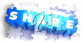 Share - White Word on Blue Puzzles on White Background. 3D Render.