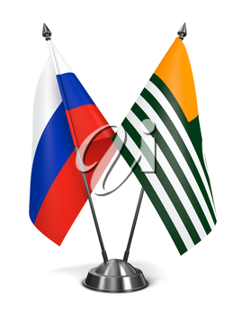 Russia and Azad Kashmir - Miniature Flags Isolated on White Background.