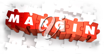 Margin - Text on Red Puzzles with White Background. 3D Render.