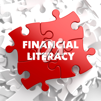 Financial Literacy on Red Puzzle on White Background.