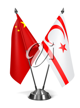 China and Turkish Republic Northern Cyprus - Miniature Flags Isolated on White Background.